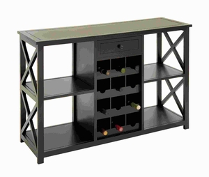 "31""H Wood Wine Console in Slick Brown Finish with Smooth Edges Brand Woodland"
