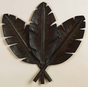 """32"""" Distress Palm Leaves Wall Decor Sculpture in Antique Finish Brand Woodland"""