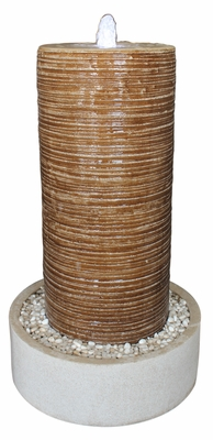 "32"" Ribbed Column and Round Base Crafted with Pebbles Fountain Brand Screen Gem"