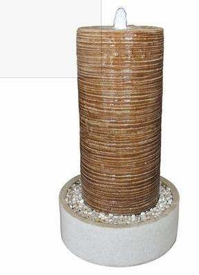 """32"""" Ribbed Column and Round Base Crafted with Pebbles Fountain Brand Screen Gem"""
