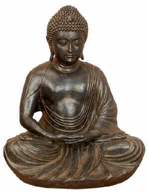 "33"" Buddha Meditating Peace Harmony Statue in Rustic Black Brand Woodland"