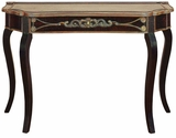"33"" Elegant Wood and Leather Hall Console Table in Brown Brand Woodland"