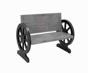 "33""H Sturdy Wood Bench with Weight Bearing Wheel Shaped Legs Brand Woodland"