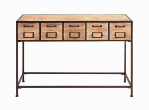 """33""""H Wood Console Table with Bright Light Wood Finish & Metal Leg Brand Woodland"""