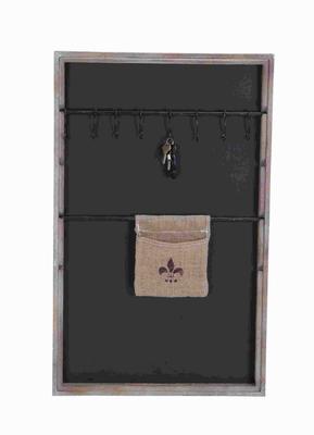 """33""""H Wood Message Board with Elegant Design and 7 Hanging Loops Brand Woodland"""