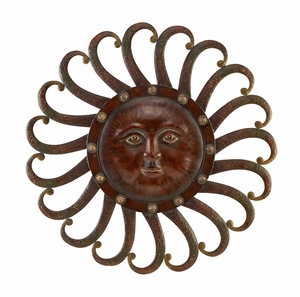 "34"" Celestial Metal Sun Wall Plaque Decor in Brown and Gold Brand Woodland"