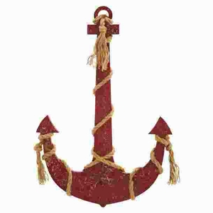 "34""H Classic Wood Rope anchor Smeared In Brownish Red Color Brand Woodland"