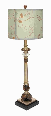 "34"" H Contemporary Metal Buffet Lamp with Beige Colored Shade Brand Woodland"