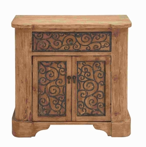 "34"" H Unique Wood Metal Cabinet with Graceful Curve Motifs Brand Woodland"