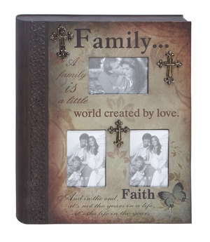 Metal Book Photo Frame Walldecor With Family Statement - 34784 by Benzara
