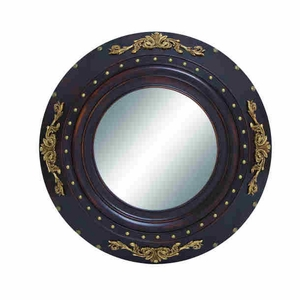 "35""D Classic Contemporary Wood Mirror with Circular Pattern Brand Woodland"