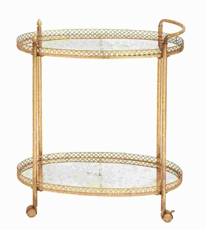 "35""H Metal Glass Tea Cart in Stylish and Functional Design Brand Woodland"