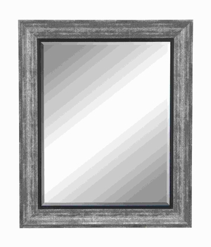 "35""H Polystone Beveled Mirror with Dull Grey Finish Frame Brand Woodland"