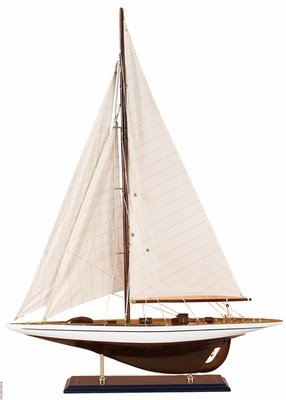 "35"" White and Brown Wooden Sailboat with Antiqued Design Brand Woodland"