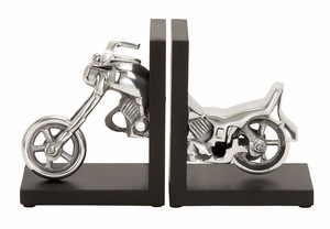 BLACK AND SILVER ALUMINUM BOOKEND SET - 35258 by Benzara
