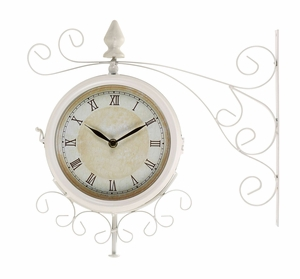 Metal Outdoor Double Clock With Easy To Mount Wall Bracket - 35411 by Benzara
