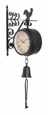 35412 Metal Outdoor Double Clock � Exterior Decor In Multiple Flavors Brand Woodland