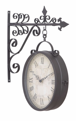 Metal Outdoor Double Clock Very Usefuldecor - 35414 by Benzara