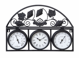 35416 Metal Outdoor Clock With Thermometers- Multipurpose Decor Brand Woodland