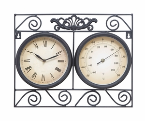 35417 Metal Outdoor Clock With Thermometer- A Meaningful Decor Item Brand Woodland