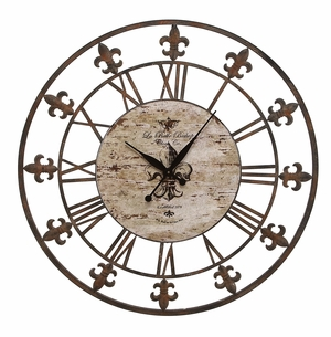 "36"" Classic Metal Fleur Di Lis Wall Clock Decor Sculpture Brand Woodland"