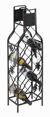 "36""H attractive Metal Wine Rack in Stylized Diamond Shaped Brand Woodland"