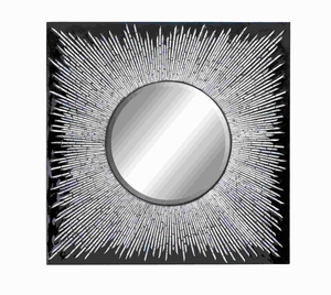 """36"""" H Beautiful Wood Lacquer Inlay Mirror with Wooden Frame Brand Woodland"""