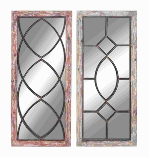 "36"" H Elegant and Antique Wood Metal Mirror Decor (Set of 2) Brand Woodland"