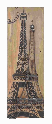 "36""H Wood Metal Wall Decor in Smooth Finish French Eiffel Tower Brand Woodland"