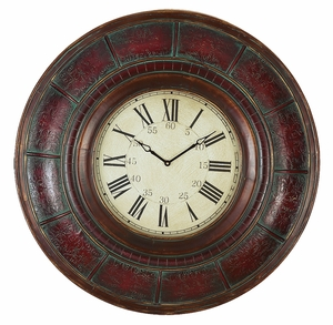 "36"" Oxford Round Roman Wood Wall Decor Clock in Burgundy Brand Woodland"