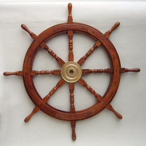 "36"" Wooden Ship Wheel With Brass Hub And 8 Spokes Brand IOTC"