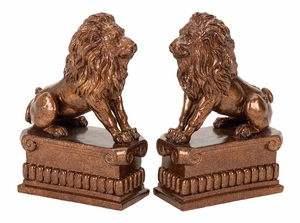 36421 Polystone Lion Bookend Pair � Study Accent Bookends Brand Woodland