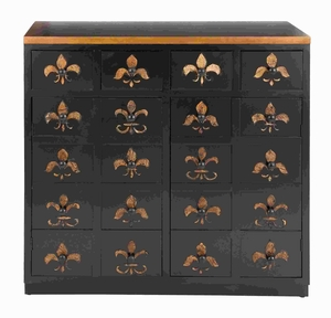 "37""H Wood Dresser in Brown Lacquer and Fleur De Lis Imprints Brand Woodland"