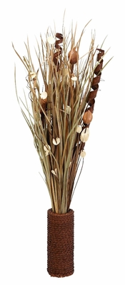 """38"""" Dyed Floral Vase in Brown Finish with Modern Design Brand Woodland"""