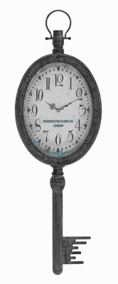 "38"" H Metal Wall Clock Elegant Design in Antique Finish Brand Woodland"