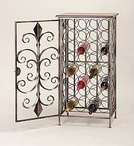 "39"" Antiqued Metal Wine Bar Cabinet with Wooden Bar Top Brand Woodland"