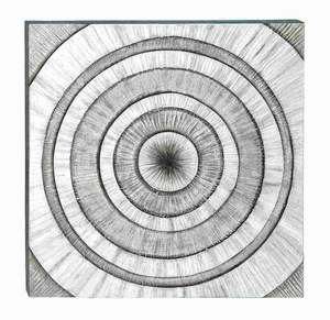 "39""H Classic Wood Wall art with Bold Concentric Pattern Brand Woodland"