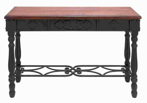 "3O""H Wood and Metal Desk Durability with Rich Mahogany Color Brand Woodland"