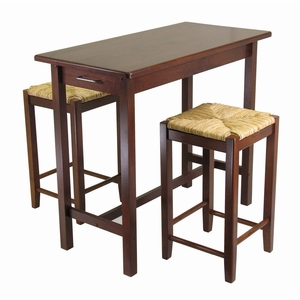 3pc Kitchen Island Table with 2 Rush Seat Stools by Winsome Woods
