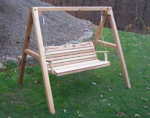 4' Cedar Country Hearts Porch Swing w/Stand by Creekvine Design