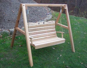 4' Cedar Royal Country Hearts Porch Swing w/Stand by Creekvine Design
