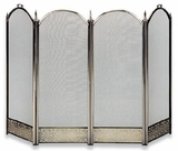 4 fold Antique Brass Screen w/ Decorative Filigree