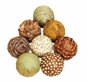 "4"" Natural Decorative Woven Bamboo Wood Balls - Set of 8 Brand Woodland"