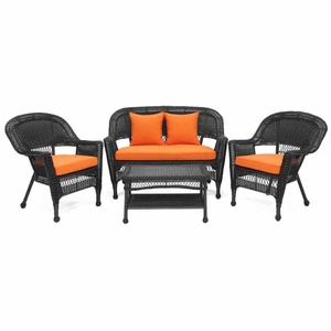 4 Piece Black Wicker Conversation Set Brick Orange Cushions Brand Zest