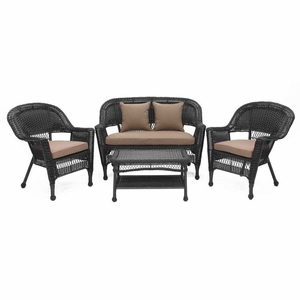 4 Piece Black Wicker Conversation Set Cococa Brown Cushions Brand Zest