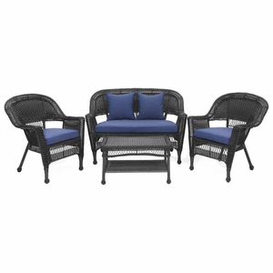4 Piece Black Wicker Conversation Set Navy Blue Cushions Brand Zest