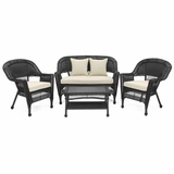 4 Piece Black Wicker Imported Conversation Set Beige Cushions Brand Zest