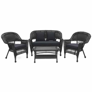 4 Piece Black Wicker Imported Conversation Set Black Cushions Brand Zest