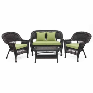 4 Piece Black Wicker Imported Conversation Set Green Cushions Brand Zest