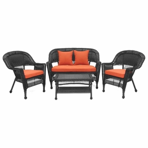 4 Piece Black Wicker Imported Conversation Set Red Cushions Brand Zest